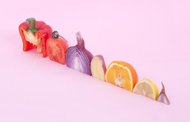 A colorful winter clever arrangements of fruits and vegetables photographed by Florent Tanet0