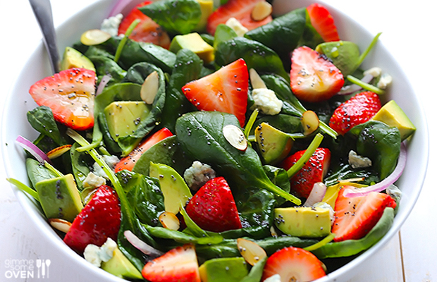 Avocado Strawberry Spinach Salad with Poppyseed Dressing-strawberry, avocado, spinach, salad1