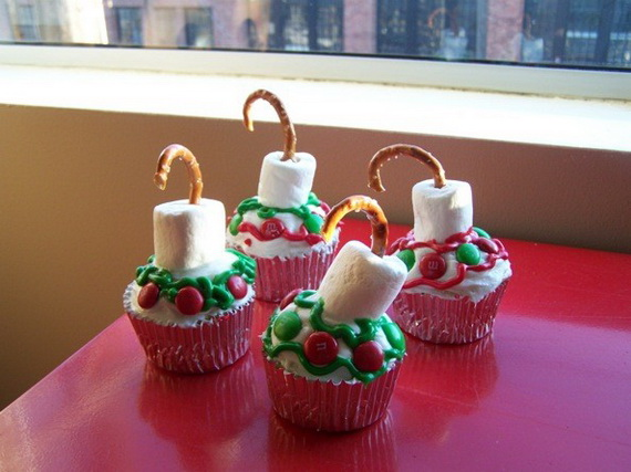 Candles Christmas creative cupcake tree decorations