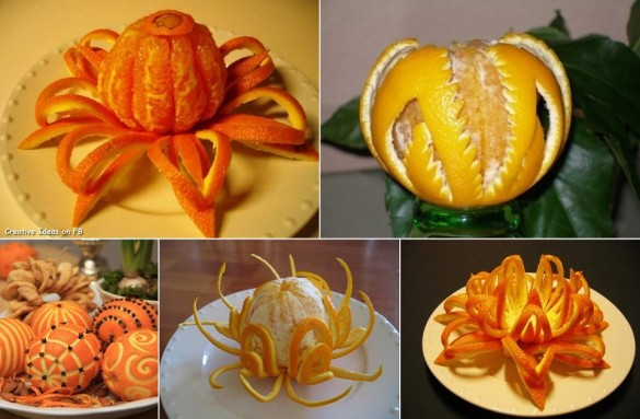 Carving orange peel decorative idea