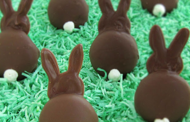 Chocolate Easter bunnies, bunny, rabbit, cookies, cookie, milk, candy melts, recipe  main image