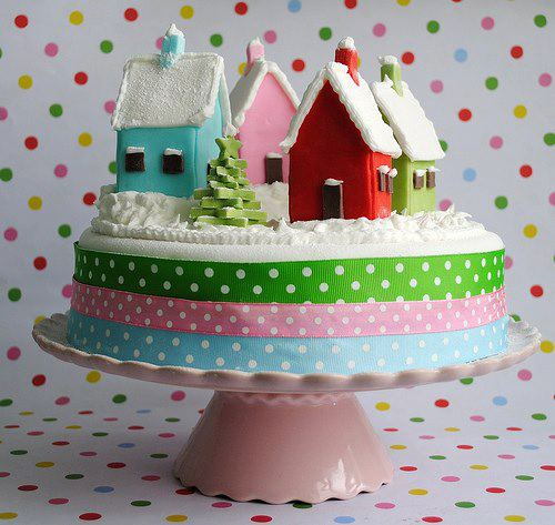 Christmas creative sweets and deserts ideas - Cake with houses