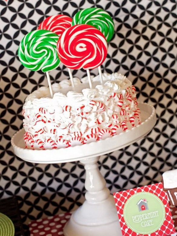 Christmas creative sweets and deserts ideas - Lollipop candy cake