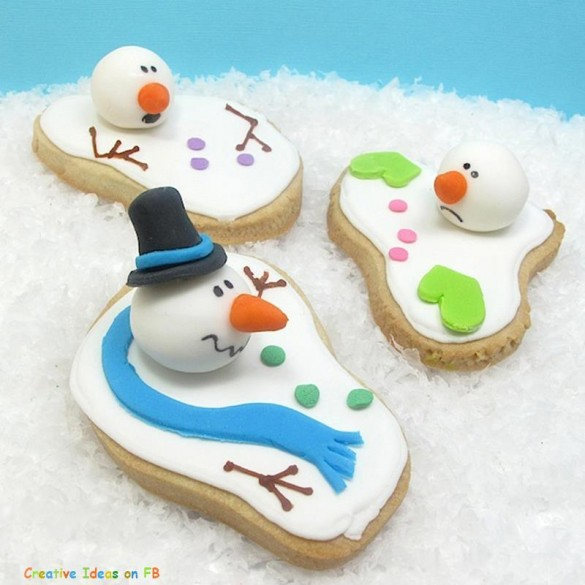 Christmas creative sweets and deserts ideas - Melted snowman cookies