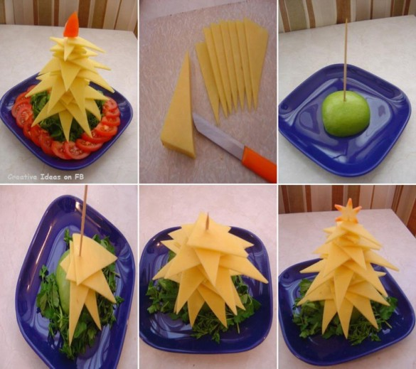 Christmas tree plate arrangement from cheese