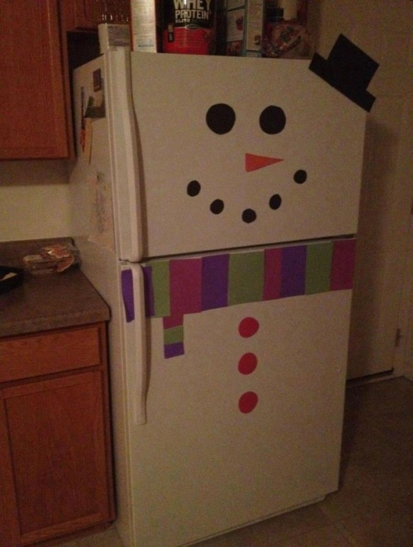Frosty the snowman stickers on fridge