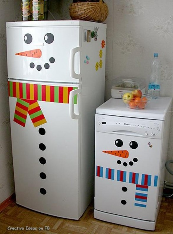 Frosty the snowman stickers on fridge and dishwasher