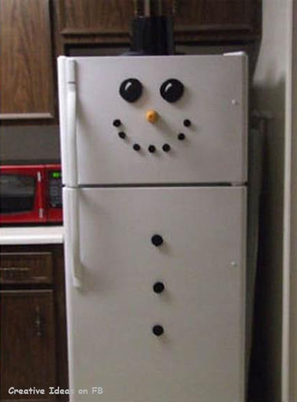 Frosty the snowman stickers on fridge with hat