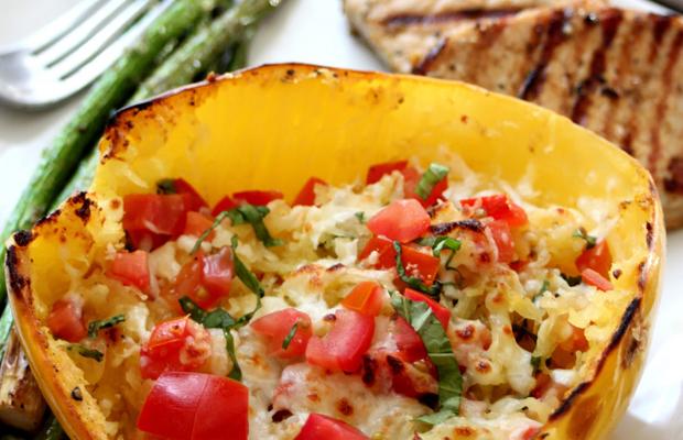 Gluten Free Goodness Baked Margherita Spaghetti Squash-h