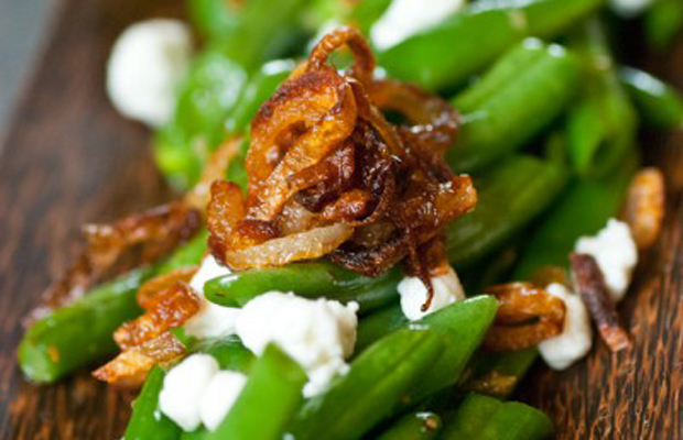 Green Beans With Shallots And Goat Cheese