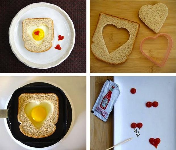 Heart shaped eggs in a basket