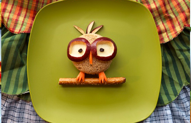 Hooting kids lunch nerdy little owl by Kellie Strickland