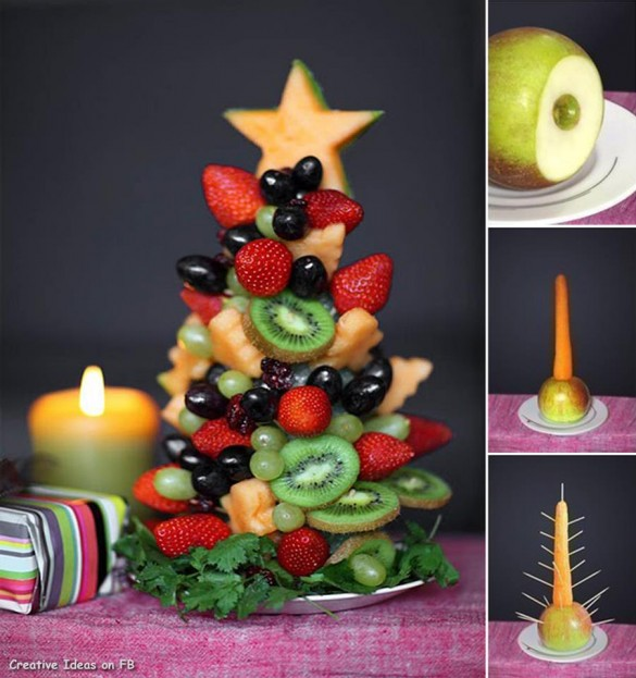 Kiwi, strawberry, grapes, melon, Christmas tree