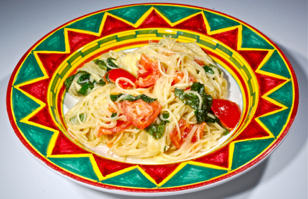 Pasta Tossed with Brie, Tomatoes and Basil