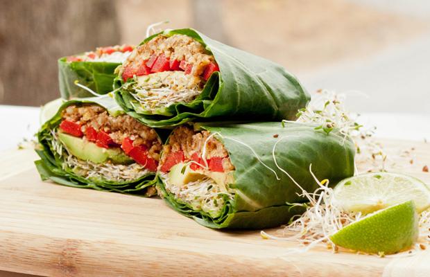 Raw Green Vegan Collard Wraps-h