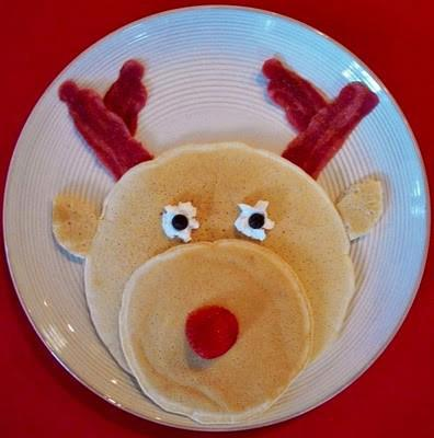 Rudolph the red nose reindeer pancake for Christmas