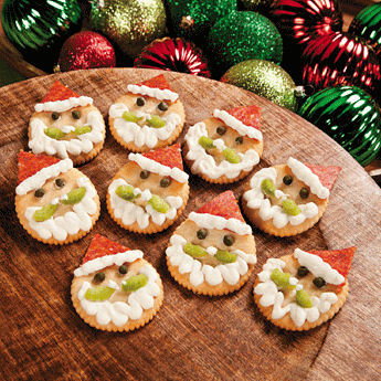 Santa's crackers with salami, mayonnaise and pickles