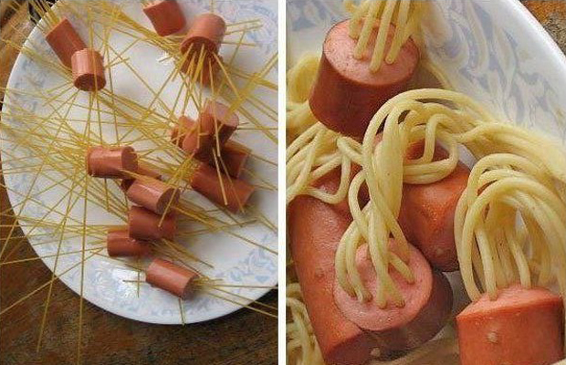 Spaghetti with jellyfish style sausages - h