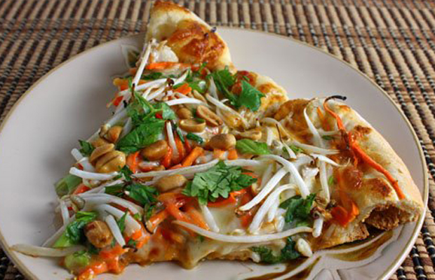 Thai Chicken Pizza with Spicy Peanut Sauce, Slices main image
