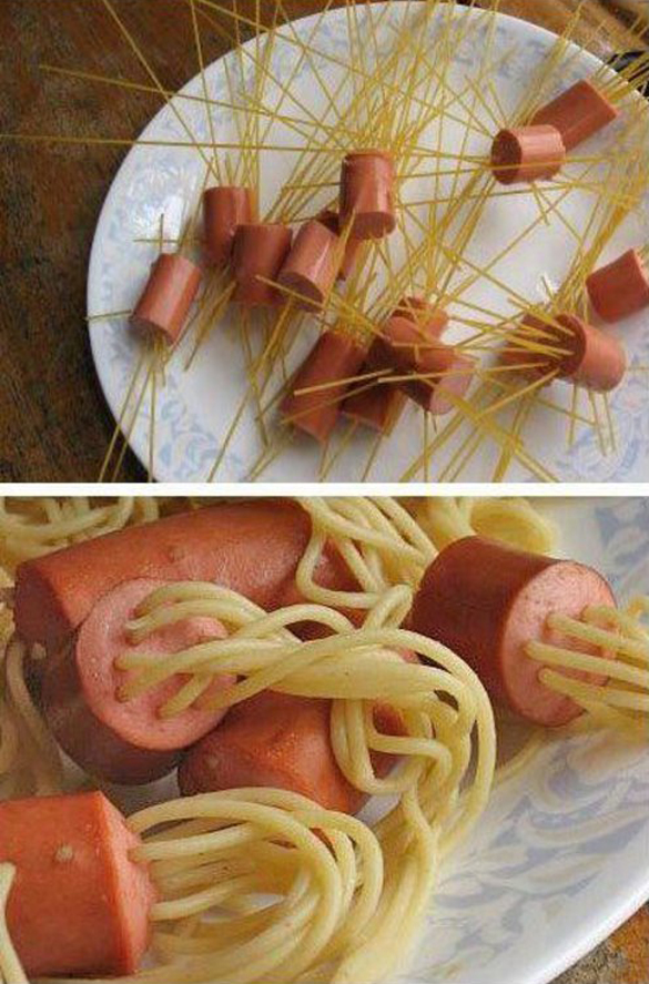 Spaghetti with jellyfish style sausages1