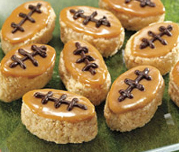 Super Bowl yummy party food - Football shaped rice krispies treats for your Super Bowl parties, Super Bowl snack and dessert recipes (2)