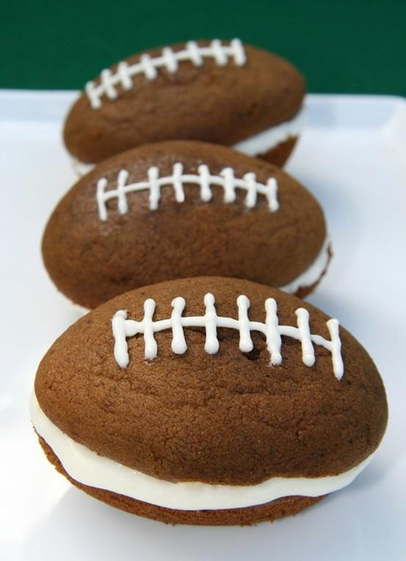 Super Bowl yummy party food - Whoopie Pies in the shape of a football-Perfect for Super bowl Sunday Dessert Treat
