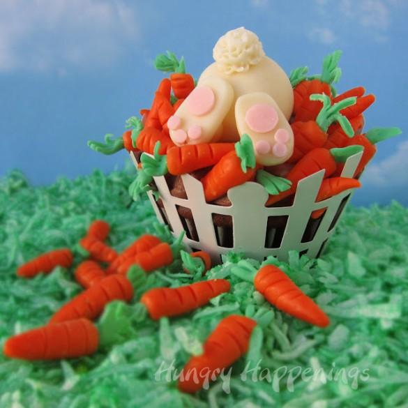 Easter cupcakes, cupcake, ravenous rabbit, bunny, modeling chocolate, sculpt, clay, fondant, carrots 2