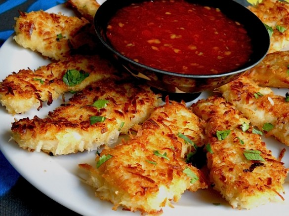 Coconut Chicken with Sweet Chili Dipping Sauce-Coconut Chicken