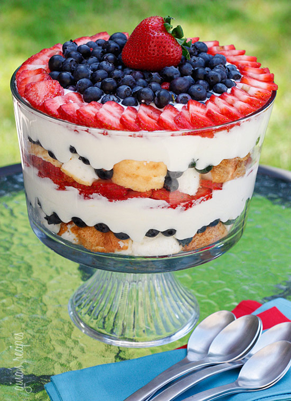 Red, white and blueberry trifle-low-fat-berry-trifle