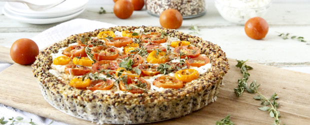 Tomato and cottage cheese tart