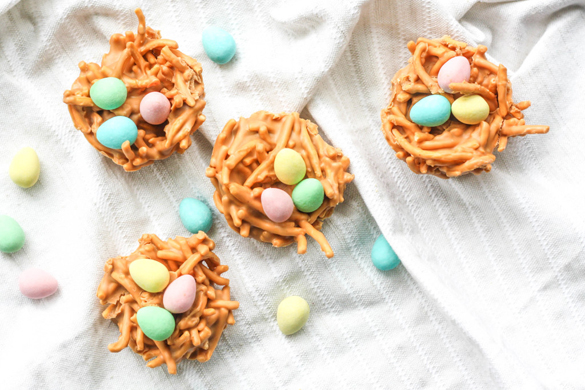 No Bake Butterscotch and Peanut Butter Bird's Nest Cookies