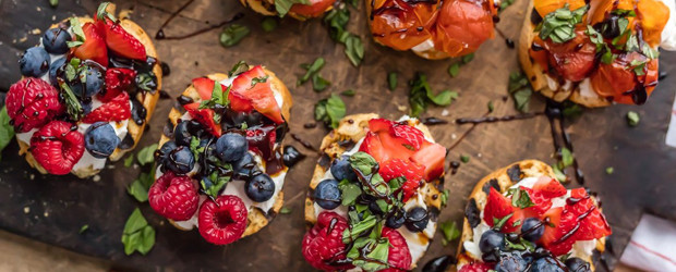Whipped Goat Cheese Bruschetta (Triple Berry and Caprese Versions!)