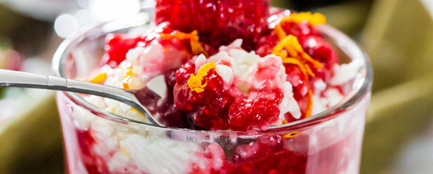 Coconut Rice Pudding with Berry Sauce