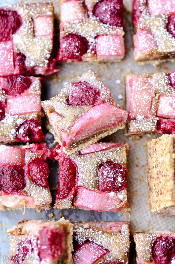 Raspberry Rhubarb Almond Bars - fancy-edibles.com