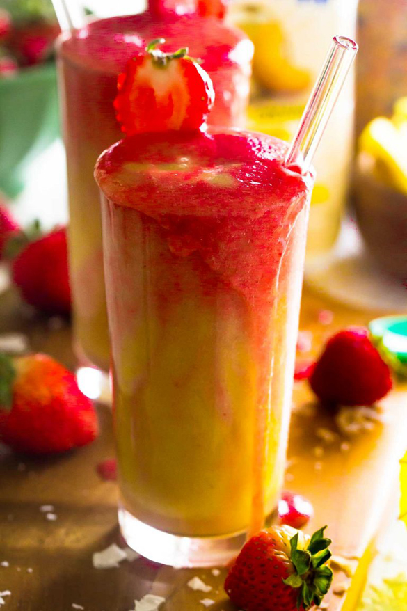 Strawberry Pineapple Coconut Smoothie - fancy-edibles.com