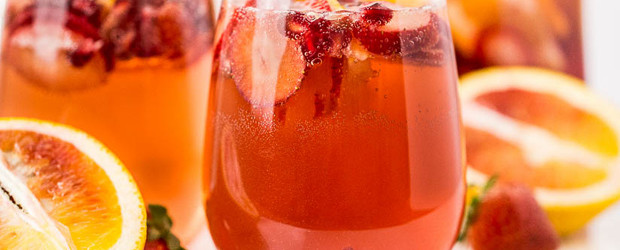 Champagne Sangria (with Blood Orange, Pomegranate & Strawberry)
