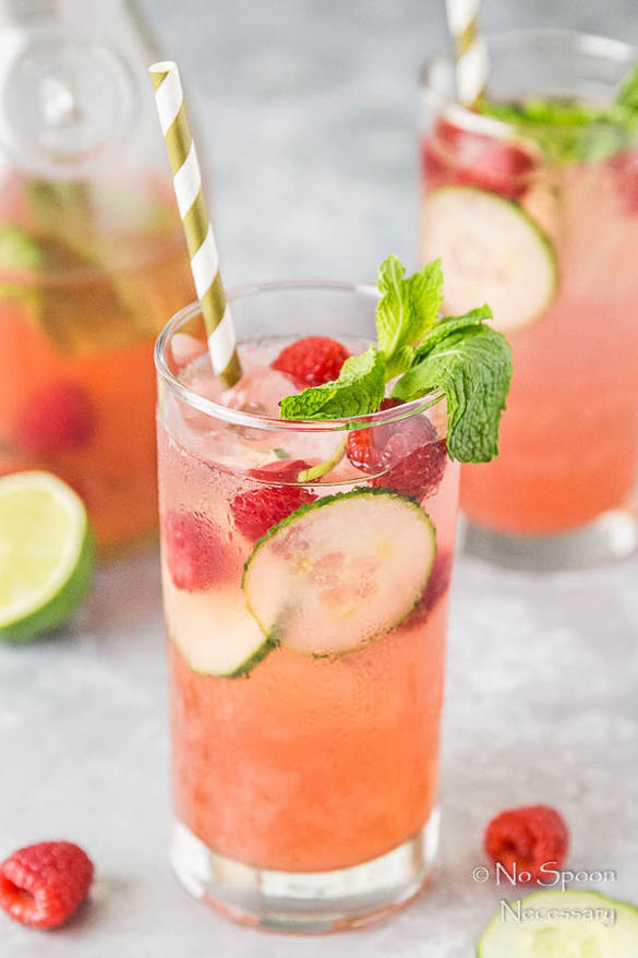 Cucumber & Raspberry Mojitos
