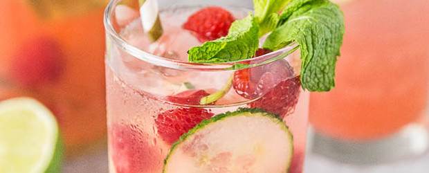 Cucumber & Raspberry Mojitos