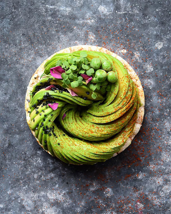 Gorgeous recipes show avocado slices arranged in swirls