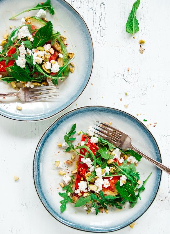 "Grilled Watermelon Salad ""Pizza"""
