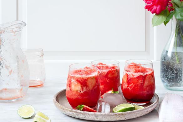 Watermelon Slush with Simple Strawberry Syrup