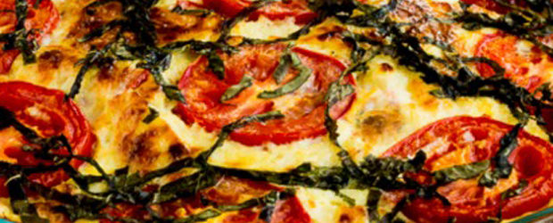 Crustless Three-Cheese Tomato-Basil Quiche