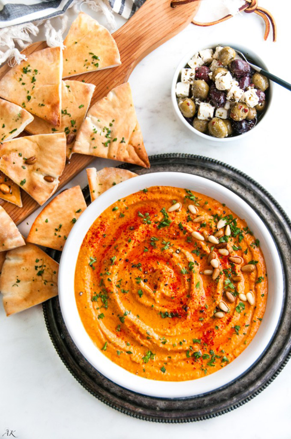 Roasted Red Bell Pepper Hummus - fancy-edibles.com