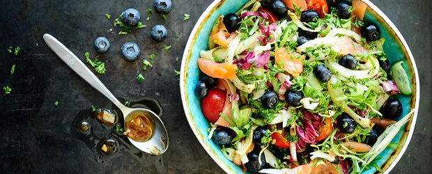 Smoked salmon salad with blueberry vinaigrette1 - Copy