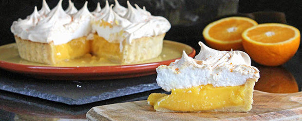 Orange & Lime Meringue Pie with Lime & Walnut Pastry (gluten free)