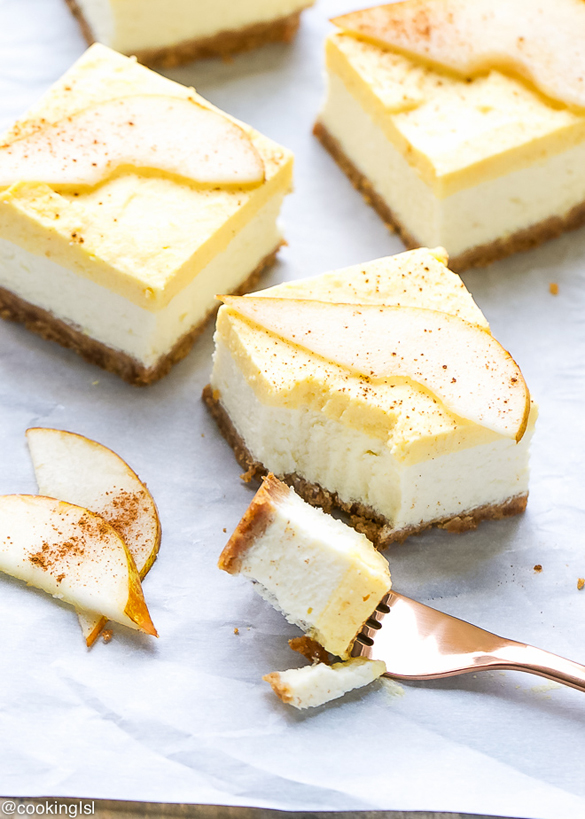 Pear Mousse Cheesecake Bars Recipe