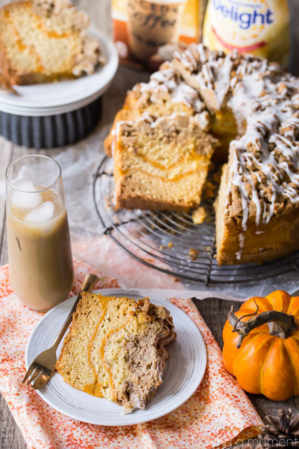 Pumpkin spice coffee cake: moist sour cream cake infused with pumpkin ...