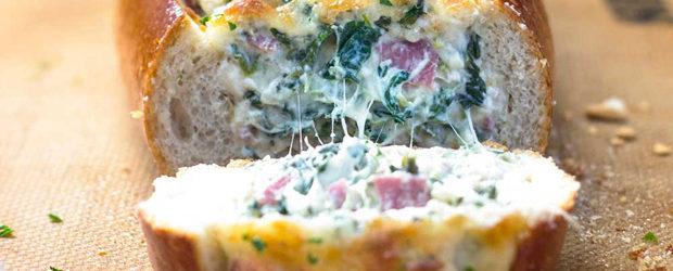 Feta Spinach Stuffed French Bread