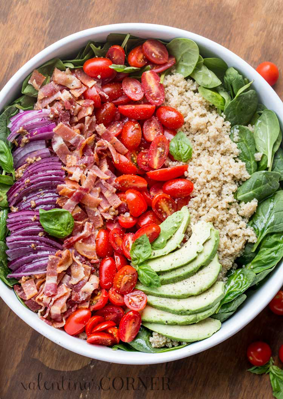 Spinach Quinoa and Bacon Salad