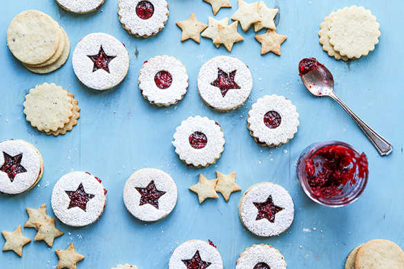 Hazelnut Linzer Cookies with Vanilla-Cranberry Jam